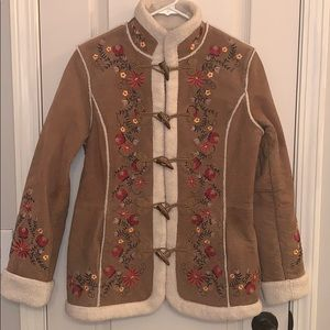 Leather Embroidered Coat with Faux Wood Buttons Sm